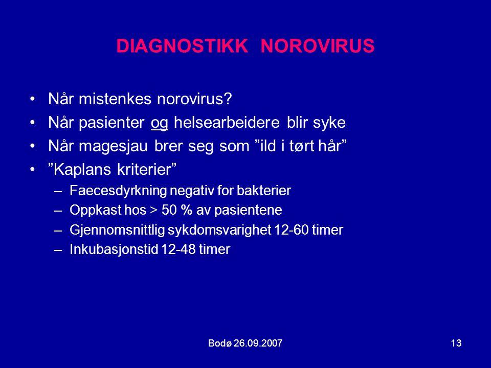 """Bodø 26.09.200713 DIAGNOSTIKK NOROVIRUS •Når mistenkes norovirus? •Når pasienter og helsearbeidere blir syke •Når magesjau brer seg som """"ild i tørt hå"""