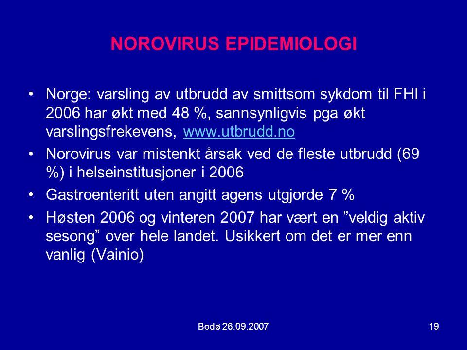 Bodø 26.09.200719 NOROVIRUS EPIDEMIOLOGI •Norge: varsling av utbrudd av smittsom sykdom til FHI i 2006 har økt med 48 %, sannsynligvis pga økt varslin