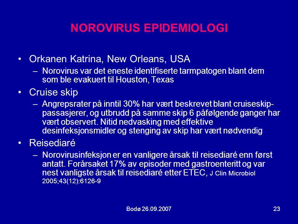 Bodø 26.09.200723 NOROVIRUS EPIDEMIOLOGI •Orkanen Katrina, New Orleans, USA –Norovirus var det eneste identifiserte tarmpatogen blant dem som ble evak