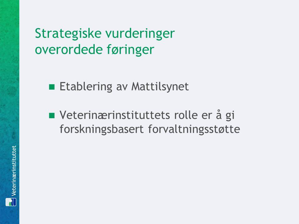 Strategiske vurderinger overordede føringer  Etablering av Mattilsynet  Veterinærinstituttets rolle er å gi forskningsbasert forvaltningsstøtte