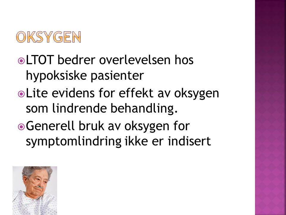  LTOT bedrer overlevelsen hos hypoksiske pasienter  Lite evidens for effekt av oksygen som lindrende behandling.  Generell bruk av oksygen for symp
