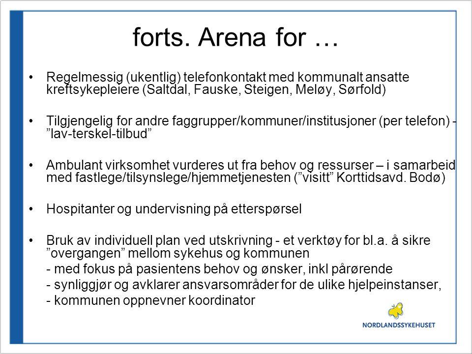 forts. Arena for … •Regelmessig (ukentlig) telefonkontakt med kommunalt ansatte kreftsykepleiere (Saltdal, Fauske, Steigen, Meløy, Sørfold) •Tilgjenge