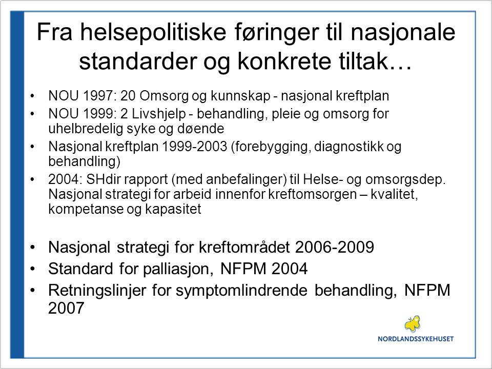 Fra helsepolitiske føringer til nasjonale standarder og konkrete tiltak… •NOU 1997: 20 Omsorg og kunnskap - nasjonal kreftplan •NOU 1999: 2 Livshjelp