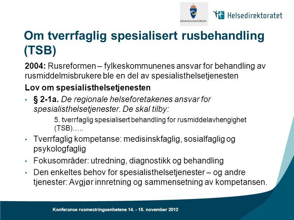 Konferanse rusmestringsenhetene 14. - 15. november 2012 Om tverrfaglig spesialisert rusbehandling (TSB) 2004: Rusreformen – fylkeskommunenes ansvar fo