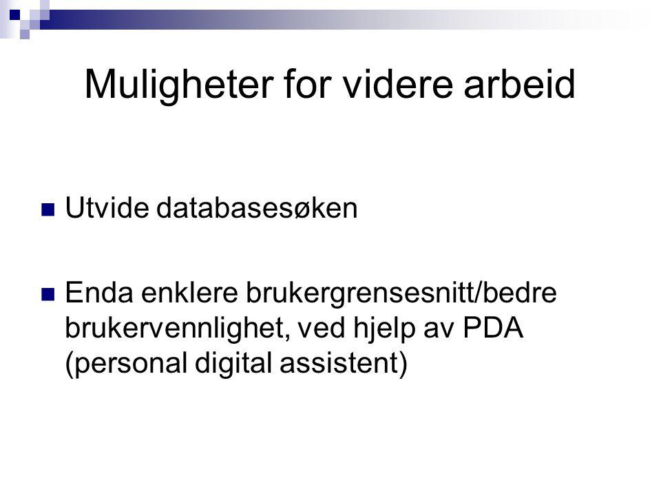 Muligheter for videre arbeid  Utvide databasesøken  Enda enklere brukergrensesnitt/bedre brukervennlighet, ved hjelp av PDA (personal digital assist