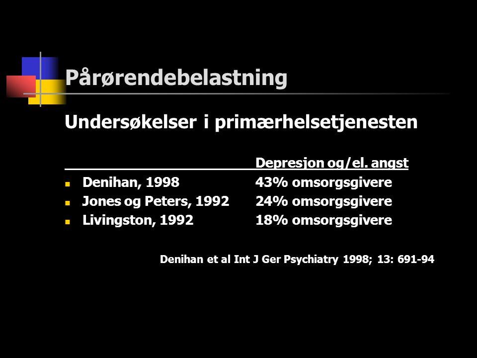 Pårørendebelastning Undersøkelser i primærhelsetjenesten Depresjon og/el. angst  Denihan, 199843% omsorgsgivere  Jones og Peters, 199224% omsorgsgiv