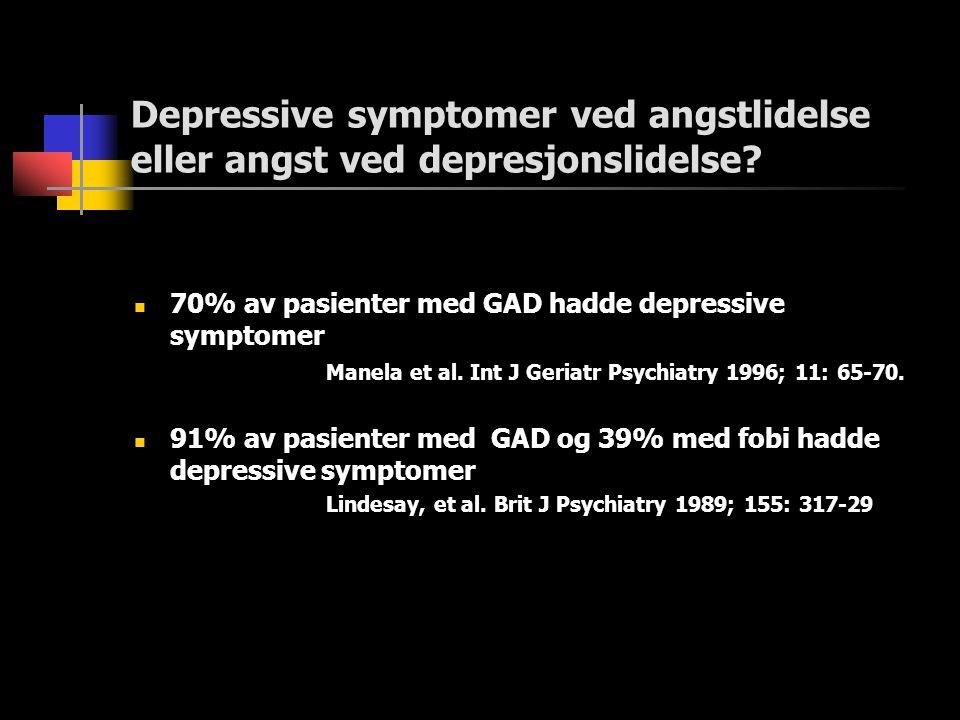 Depressive symptomer ved angstlidelse eller angst ved depresjonslidelse?  70% av pasienter med GAD hadde depressive symptomer Manela et al. Int J Ger