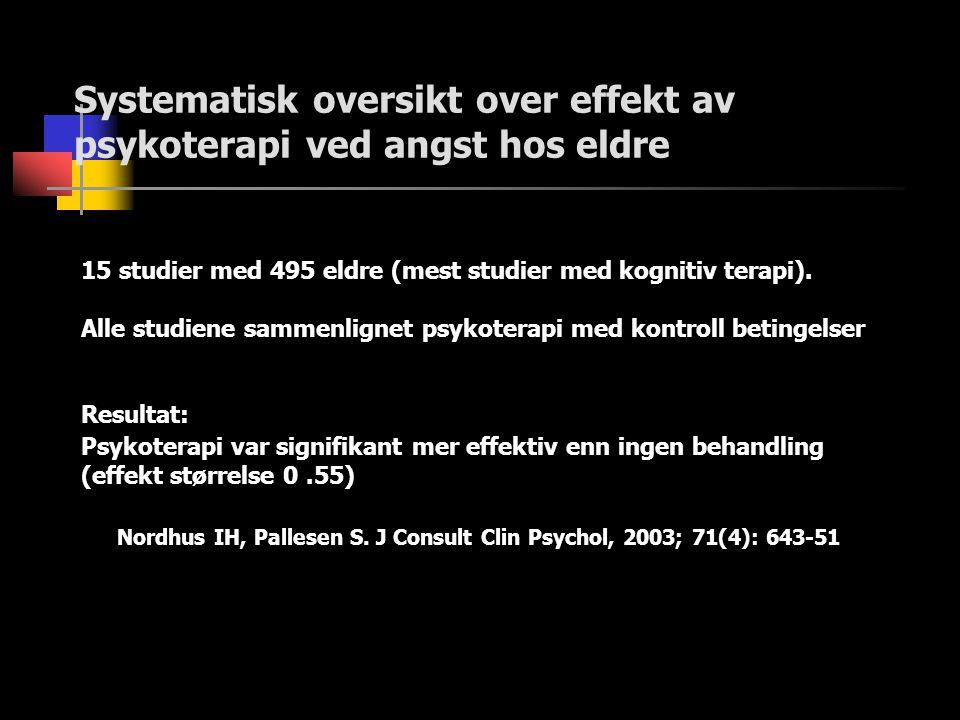Systematisk oversikt over effekt av psykoterapi ved angst hos eldre 15 studier med 495 eldre (mest studier med kognitiv terapi). Alle studiene sammenl