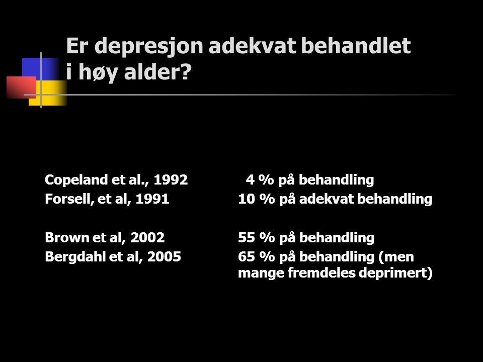 Er depresjon adekvat behandlet i høy alder? Copeland et al., 1992 4 % på behandling Forsell, et al, 199110 % på adekvat behandling Brown et al, 200255