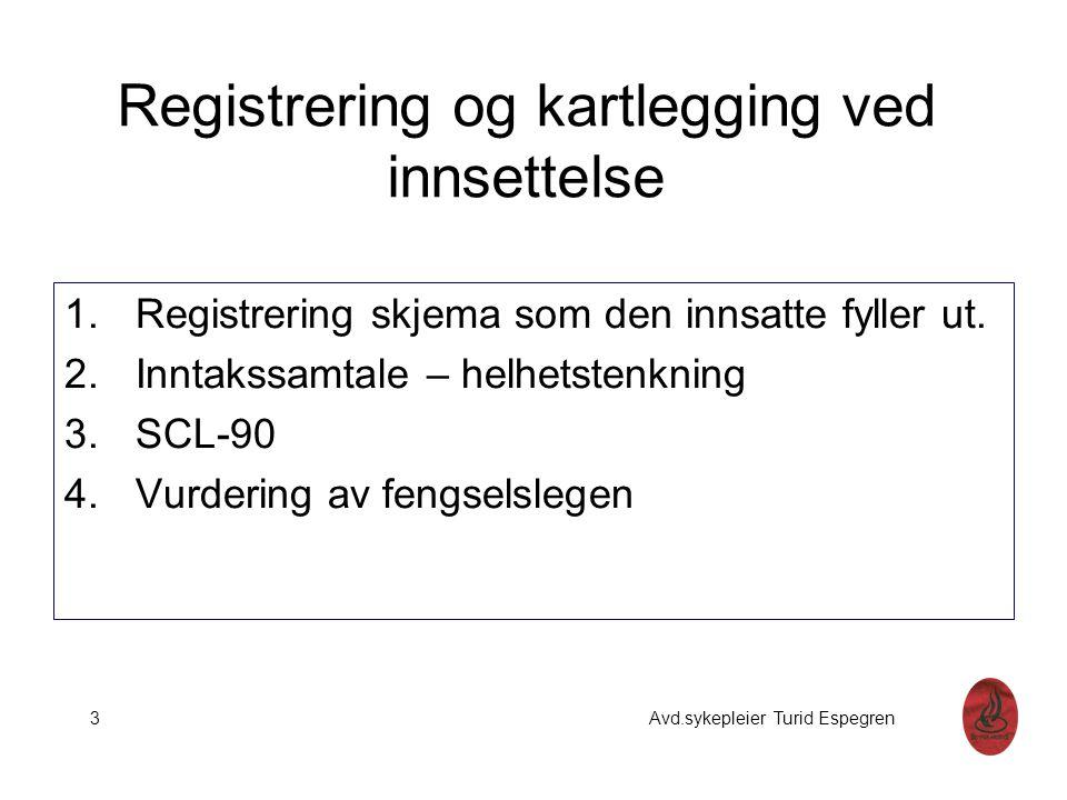 Registrering og kartlegging ved innsettelse 1.Registrering skjema som den innsatte fyller ut. 2.Inntakssamtale – helhetstenkning 3.SCL-90 4.Vurdering