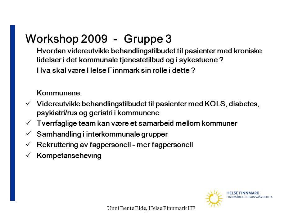 Unni Bente Elde, Helse Finnmark HF Workshop 2009 - Gruppe 3 Hvordan videreutvikle behandlingstilbudet til pasienter med kroniske lidelser i det kommun
