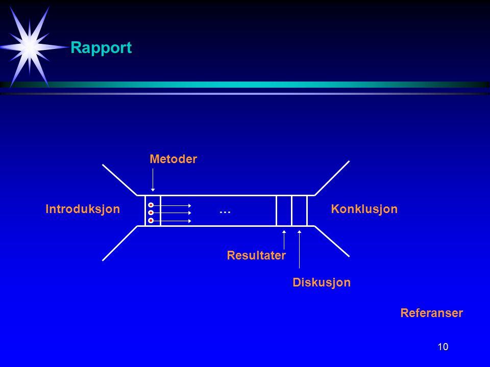 10 Rapport IntroduksjonKonklusjon Metoder … Resultater Diskusjon Referanser