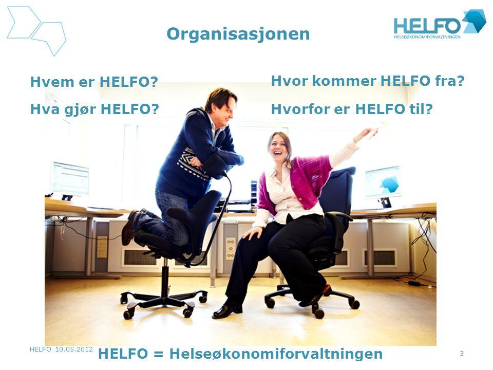 HELFO 10.05.2012 3 Organisasjonen Hvem er HELFO? Hvor kommer HELFO fra? Hva gjør HELFO?Hvorfor er HELFO til? HELFO = Helseøkonomiforvaltningen