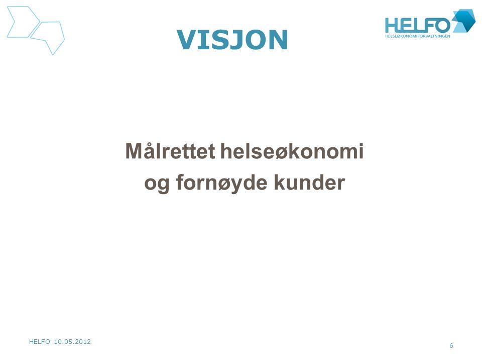 HELFO 10.05.2012 6 VISJON Målrettet helseøkonomi og fornøyde kunder