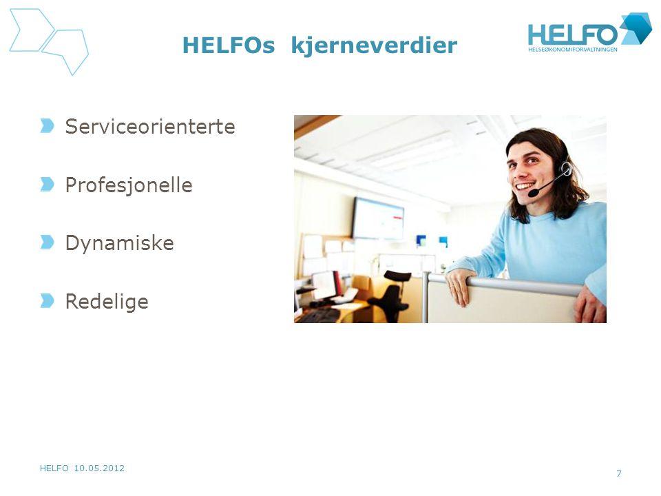HELFO 10.05.2012 7 HELFOs kjerneverdier Serviceorienterte Profesjonelle Dynamiske Redelige
