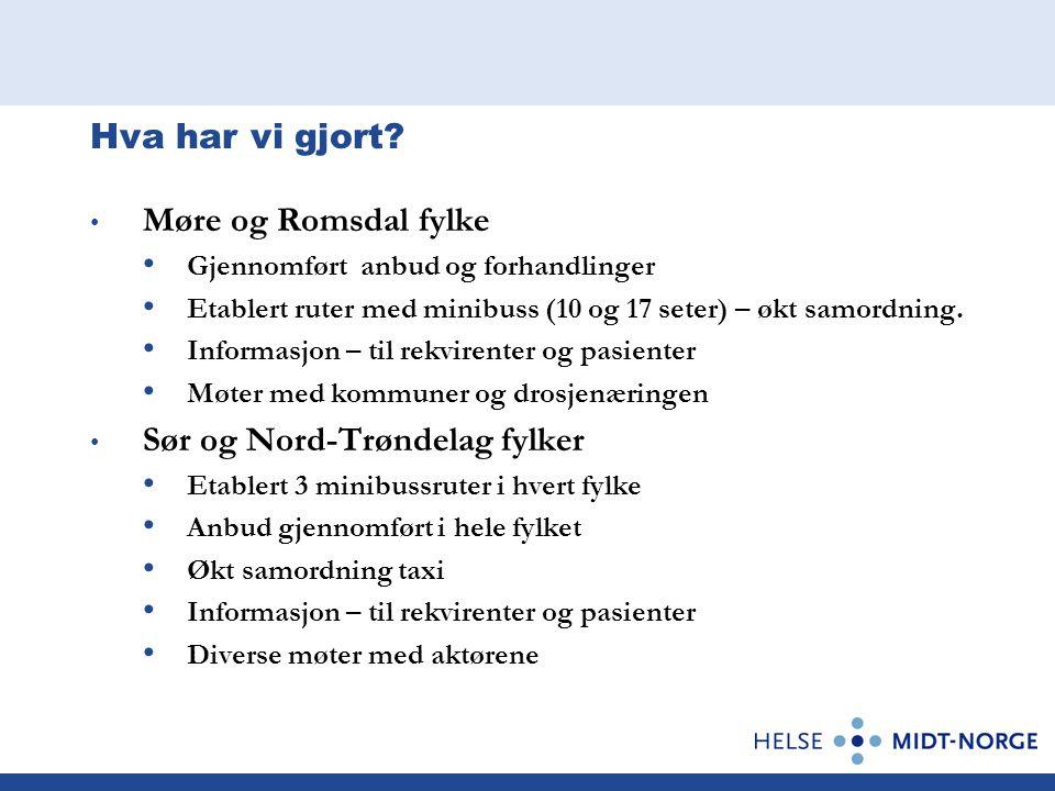 Hva har vi gjort? • Møre og Romsdal fylke • Gjennomført anbud og forhandlinger • Etablert ruter med minibuss (10 og 17 seter) – økt samordning. • Info