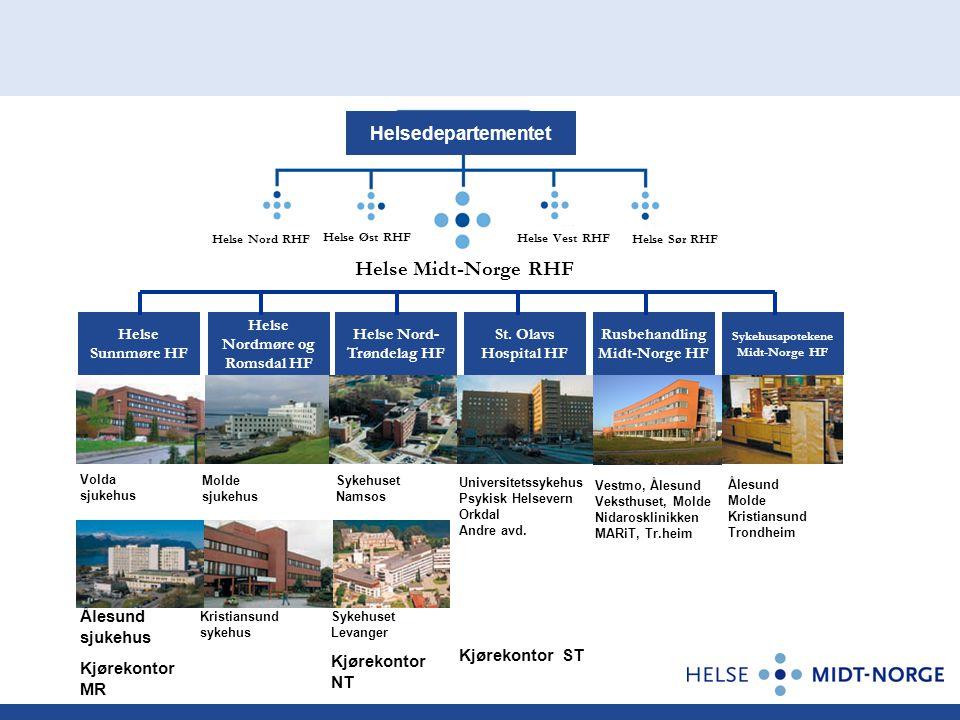 Helsedepartementet Volda sjukehus Ålesund sjukehus Kjørekontor MR Molde sjukehus Kristiansund sykehus Sykehuset Namsos Sykehuset Levanger Kjørekontor