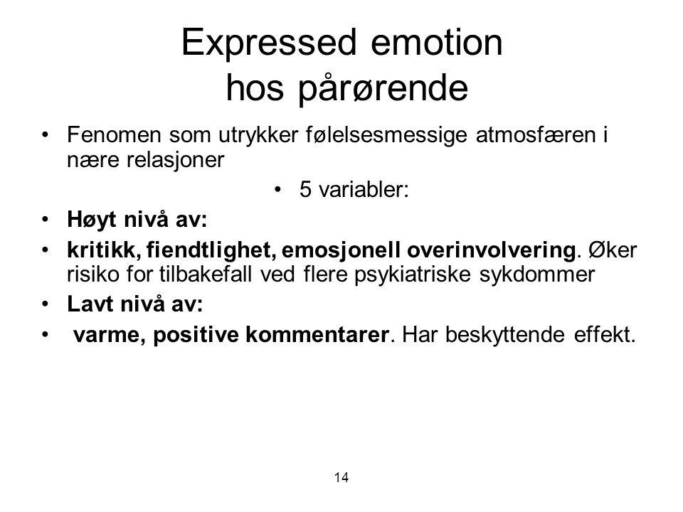 14 Expressed emotion hos pårørende •Fenomen som utrykker følelsesmessige atmosfæren i nære relasjoner •5 variabler: •Høyt nivå av: •kritikk, fiendtlig