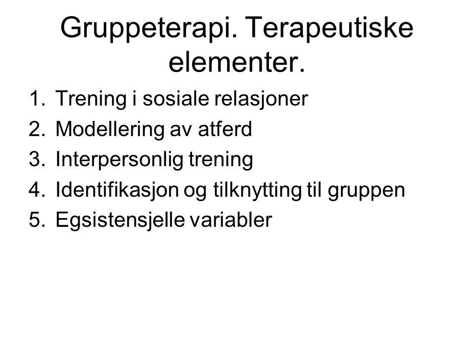 Gruppeterapi. Terapeutiske elementer. 1.Trening i sosiale relasjoner 2.Modellering av atferd 3.Interpersonlig trening 4.Identifikasjon og tilknytting