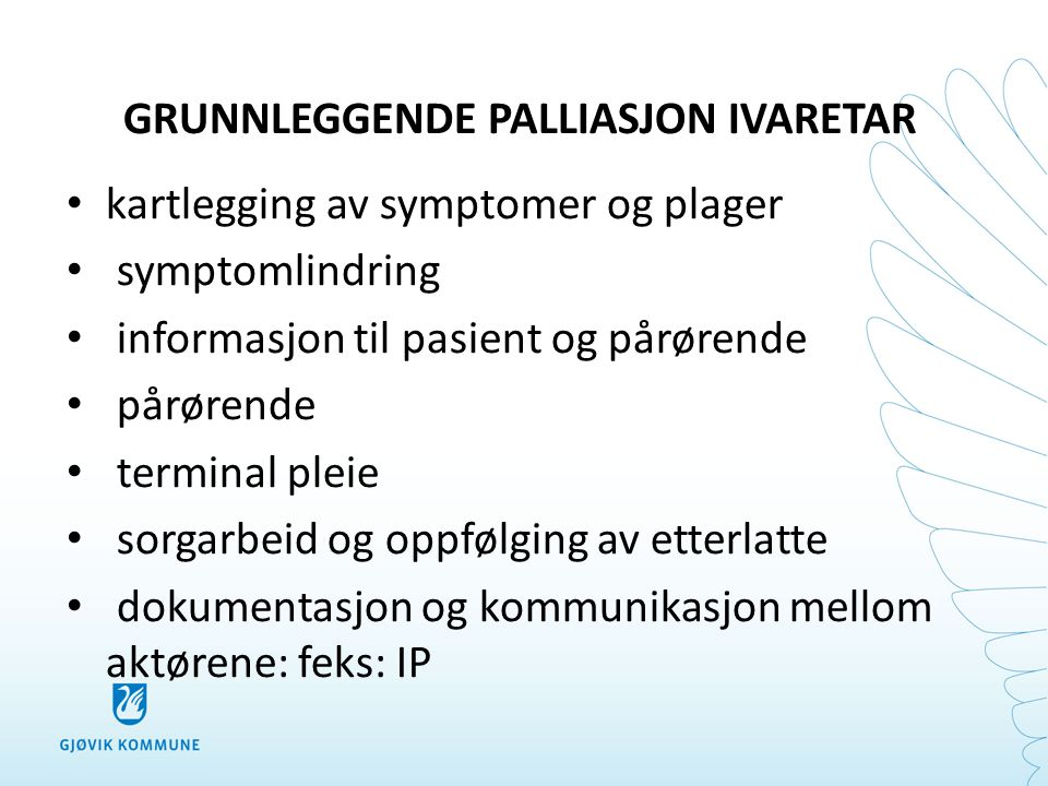 GRUNNLEGGENDE PALLIASJON IVARETAR • kartlegging av symptomer og plager • symptomlindring • informasjon til pasient og pårørende • pårørende • terminal