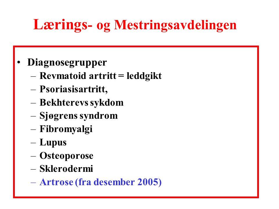 Lærings - og Mestringsavdelingen •Diagnosegrupper –Revmatoid artritt = leddgikt –Psoriasisartritt, –Bekhterevs sykdom –Sjøgrens syndrom –Fibromyalgi –