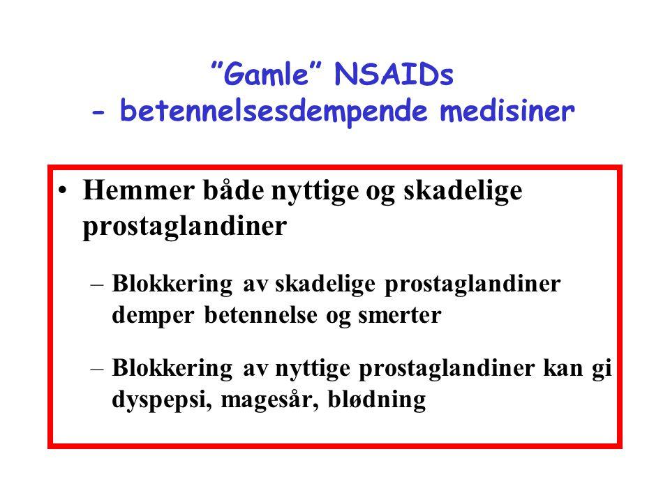 """""""Gamle"""" NSAIDs - betennelsesdempende medisiner •Hemmer både nyttige og skadelige prostaglandiner –Blokkering av skadelige prostaglandiner demper beten"""