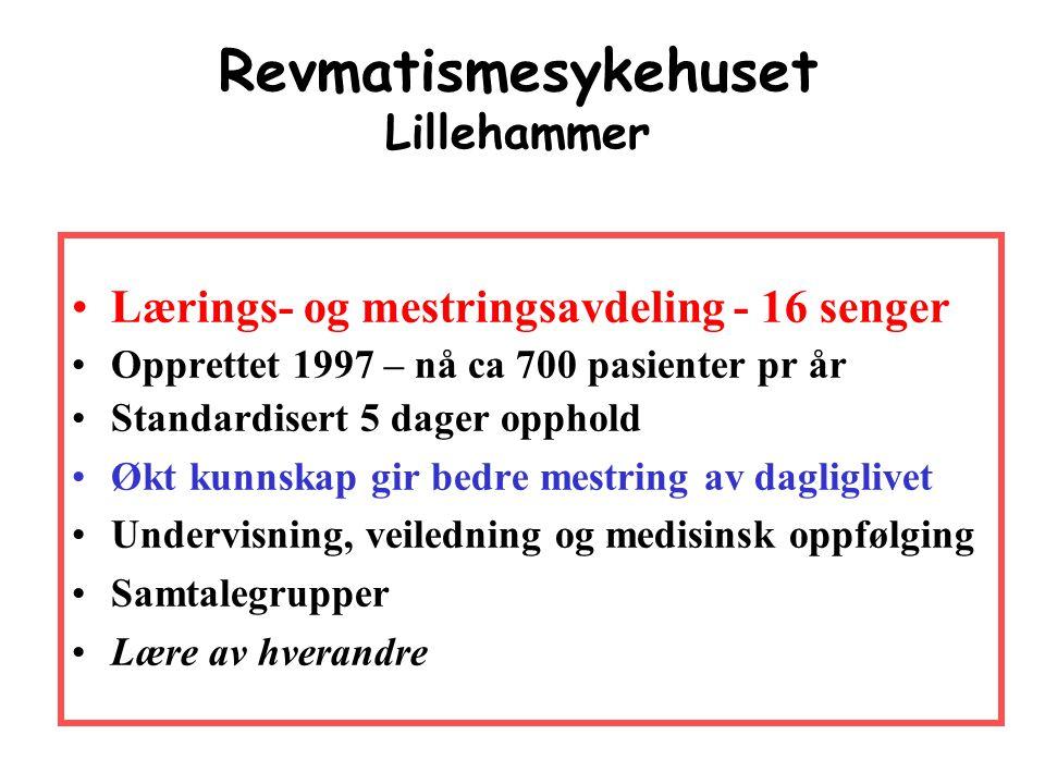 Revmatismesykehuset Lillehammer •Lærings- og mestringsavdeling - 16 senger •Opprettet 1997 – nå ca 700 pasienter pr år •Standardisert 5 dager opphold