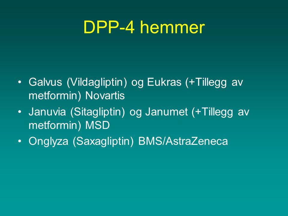 DPP-4 hemmer •Galvus (Vildagliptin) og Eukras (+Tillegg av metformin) Novartis •Januvia (Sitagliptin) og Janumet (+Tillegg av metformin) MSD •Onglyza