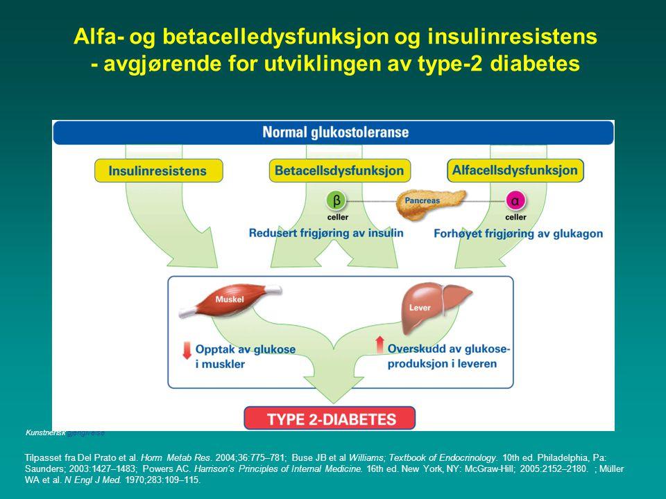 Alfa- og betacelledysfunksjon og insulinresistens - avgjørende for utviklingen av type-2 diabetes Tilpasset fra Del Prato et al. Horm Metab Res. 2004;