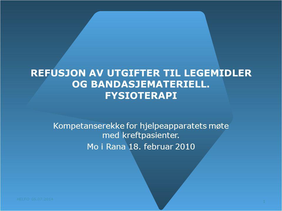 HELFO 05.07.2014 1 REFUSJON AV UTGIFTER TIL LEGEMIDLER OG BANDASJEMATERIELL. FYSIOTERAPI Kompetanserekke for hjelpeapparatets møte med kreftpasienter.