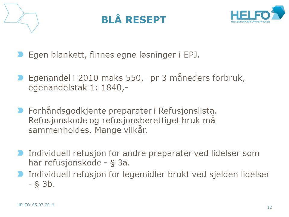 HELFO 05.07.2014 12 BLÅ RESEPT Egen blankett, finnes egne løsninger i EPJ. Egenandel i 2010 maks 550,- pr 3 måneders forbruk, egenandelstak 1: 1840,-