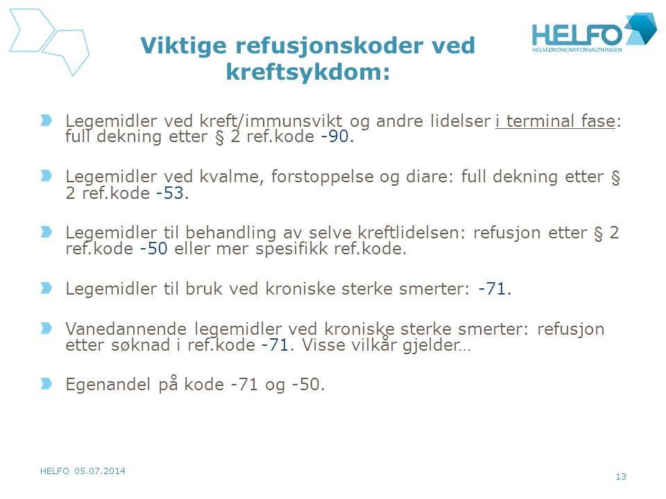 HELFO 05.07.2014 13 Viktige refusjonskoder ved kreftsykdom: Legemidler ved kreft/immunsvikt og andre lidelser i terminal fase: full dekning etter § 2 ref.kode -90.