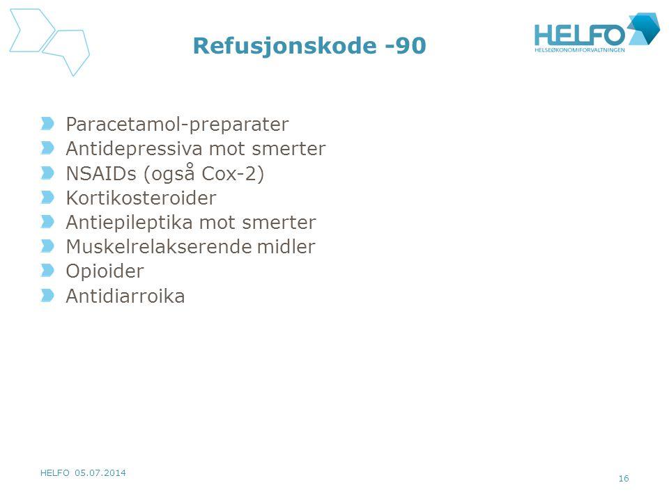 HELFO 05.07.2014 16 Refusjonskode -90 Paracetamol-preparater Antidepressiva mot smerter NSAIDs (også Cox-2) Kortikosteroider Antiepileptika mot smerte