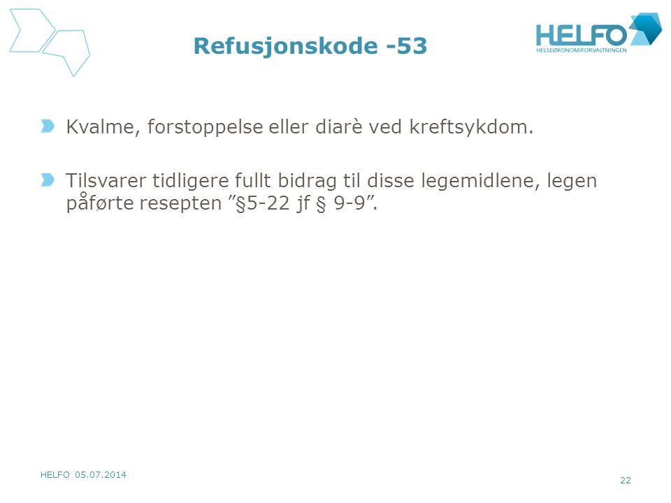 HELFO 05.07.2014 22 Refusjonskode -53 Kvalme, forstoppelse eller diarè ved kreftsykdom. Tilsvarer tidligere fullt bidrag til disse legemidlene, legen