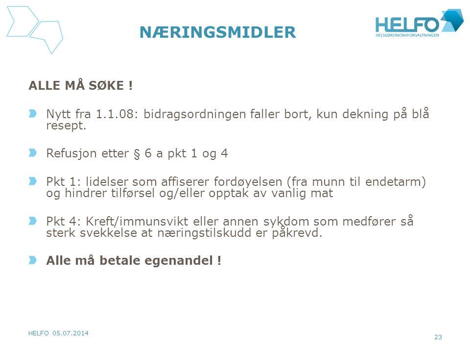 HELFO 05.07.2014 23 NÆRINGSMIDLER ALLE MÅ SØKE .