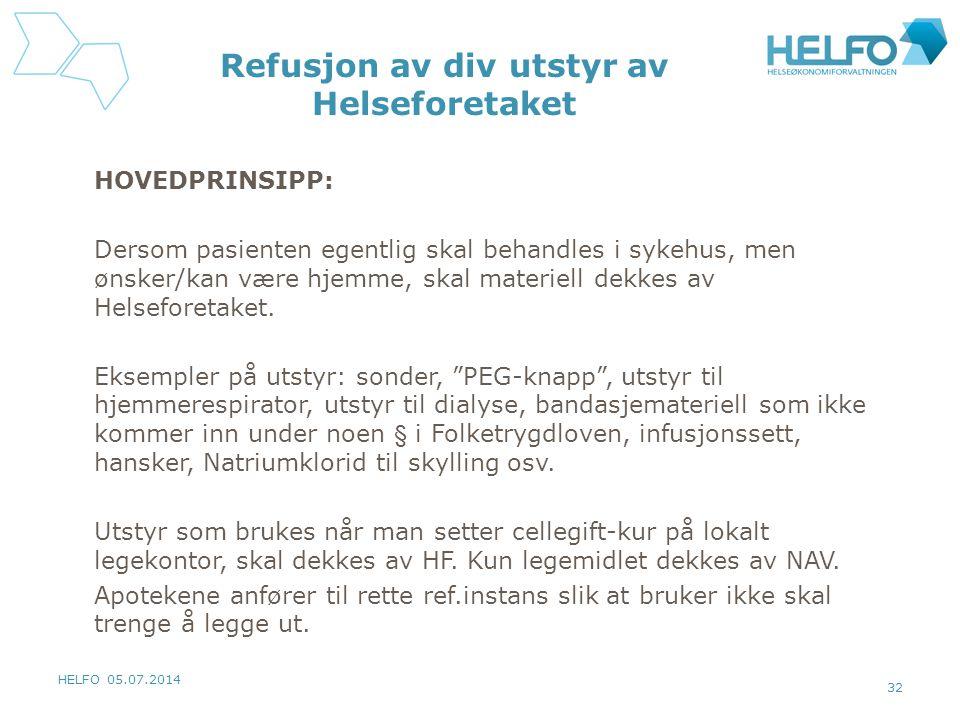 HELFO 05.07.2014 32 Refusjon av div utstyr av Helseforetaket HOVEDPRINSIPP: Dersom pasienten egentlig skal behandles i sykehus, men ønsker/kan være hj