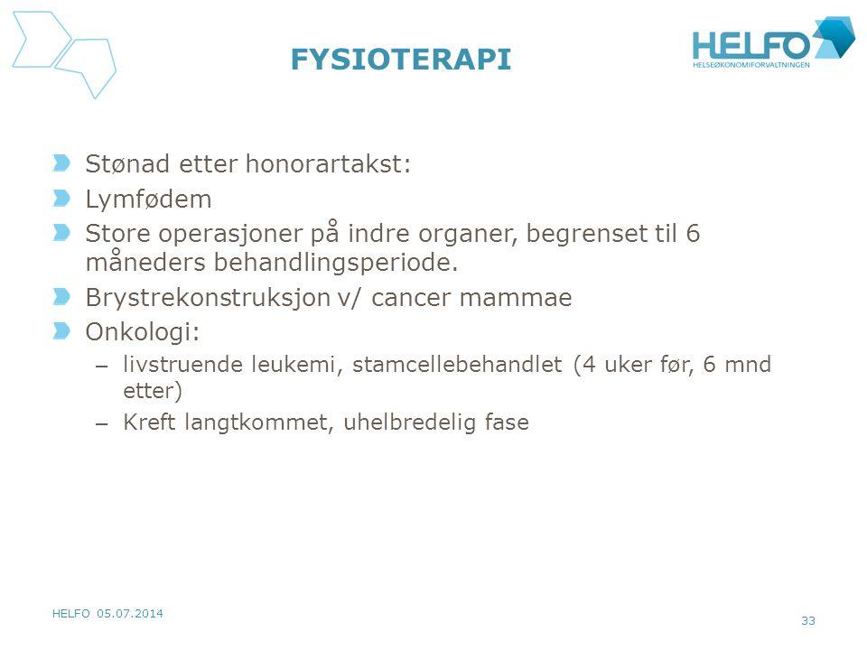 FYSIOTERAPI Stønad etter honorartakst: Lymfødem Store operasjoner på indre organer, begrenset til 6 måneders behandlingsperiode. Brystrekonstruksjon v
