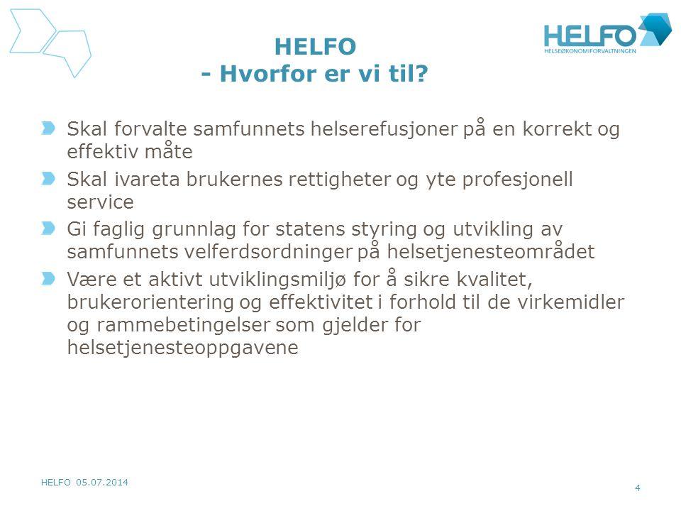 HELFO 05.07.2014 4 HELFO - Hvorfor er vi til? Skal forvalte samfunnets helserefusjoner på en korrekt og effektiv måte Skal ivareta brukernes rettighet