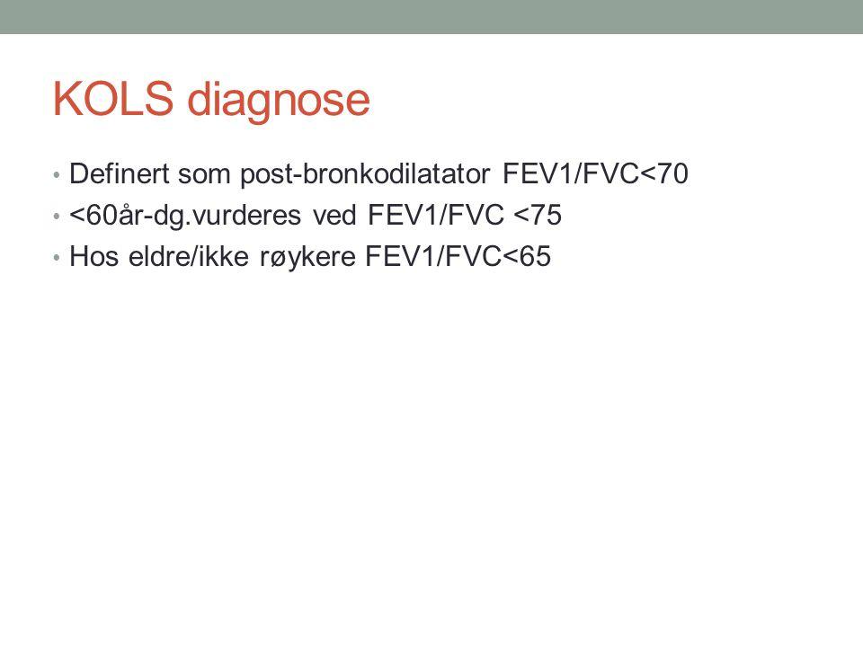 KOLS diagnose • Definert som post-bronkodilatator FEV1/FVC<70 • <60år-dg.vurderes ved FEV1/FVC <75 • Hos eldre/ikke røykere FEV1/FVC<65