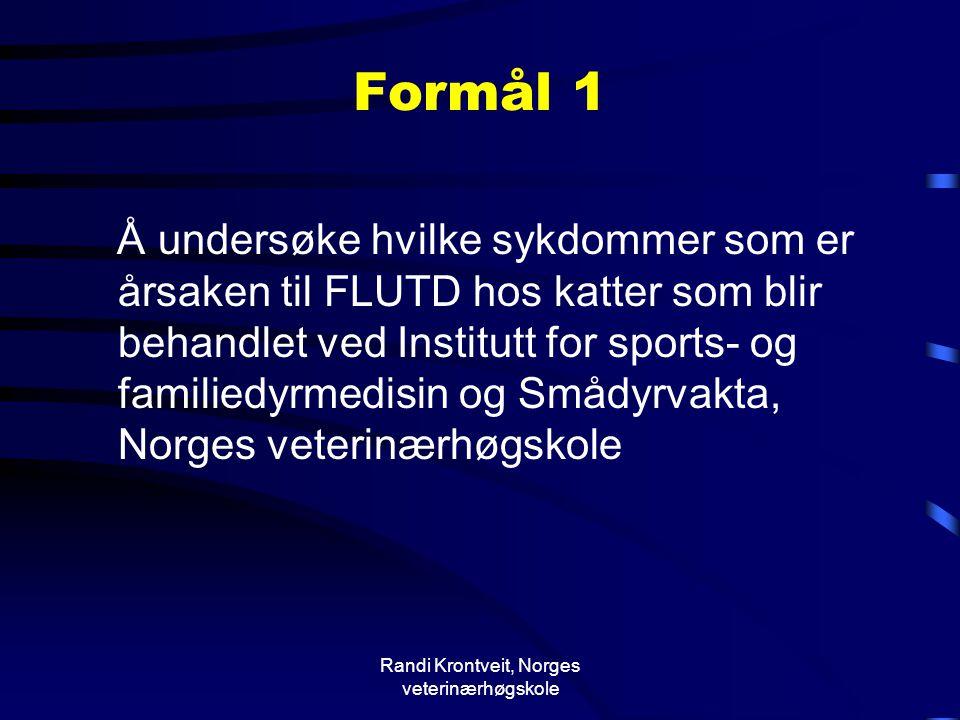 Randi Krontveit, Norges veterinærhøgskole Formål 1 Å undersøke hvilke sykdommer som er årsaken til FLUTD hos katter som blir behandlet ved Institutt f