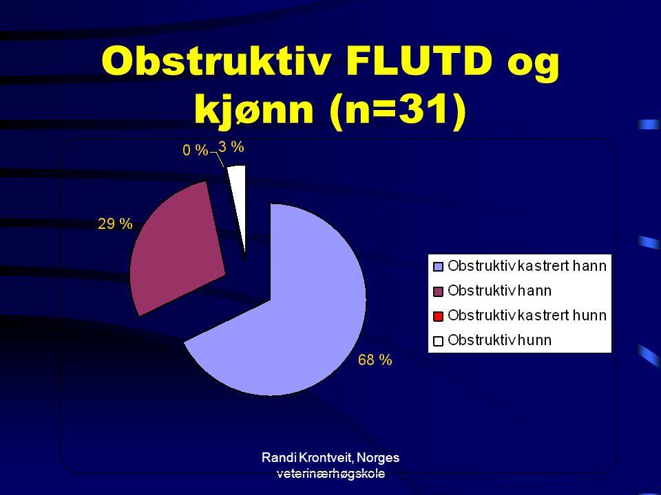 Randi Krontveit, Norges veterinærhøgskole Obstruktiv FLUTD og kjønn (n=31)