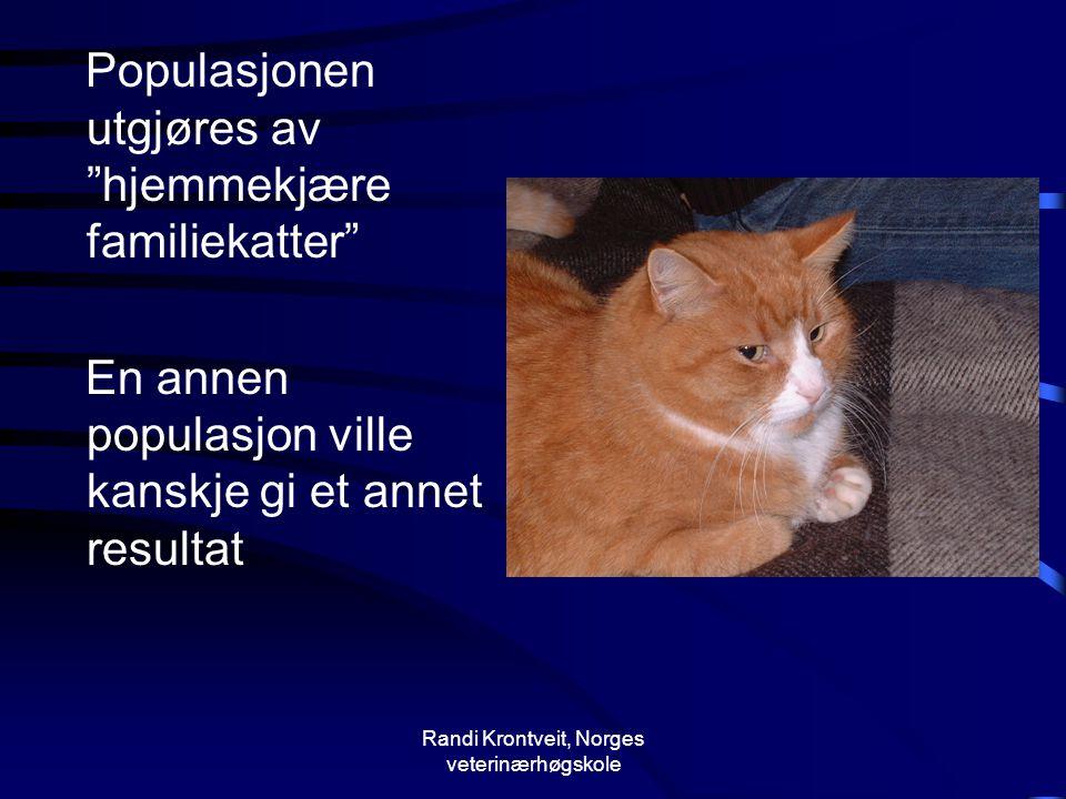 """Randi Krontveit, Norges veterinærhøgskole Populasjonen utgjøres av """"hjemmekjære familiekatter"""" En annen populasjon ville kanskje gi et annet resultat"""