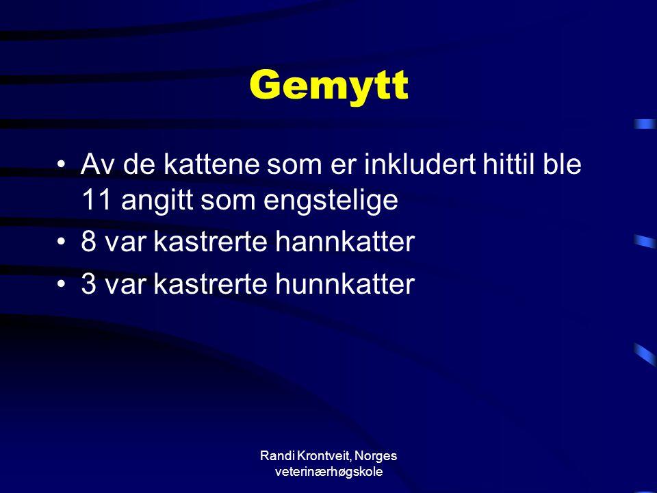 Randi Krontveit, Norges veterinærhøgskole Gemytt •Av de kattene som er inkludert hittil ble 11 angitt som engstelige •8 var kastrerte hannkatter •3 va