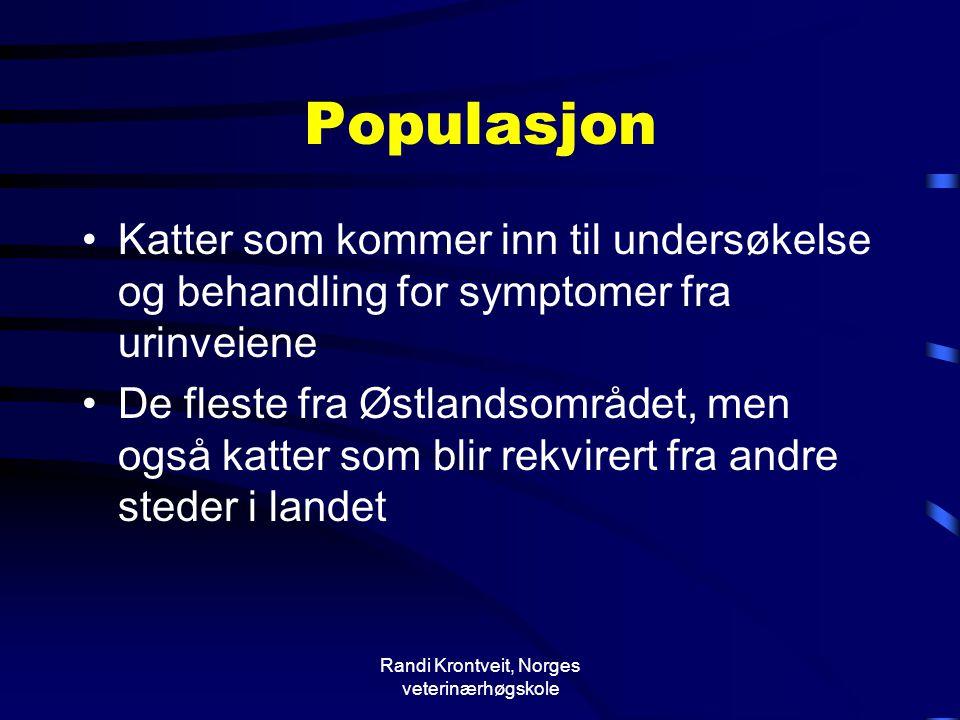 Randi Krontveit, Norges veterinærhøgskole Populasjon •Katter som kommer inn til undersøkelse og behandling for symptomer fra urinveiene •De fleste fra