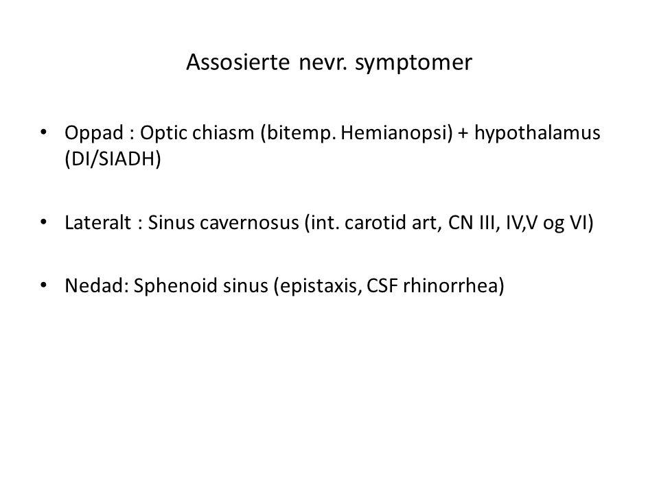 Assosierte nevr. symptomer • Oppad : Optic chiasm (bitemp. Hemianopsi) + hypothalamus (DI/SIADH) • Lateralt : Sinus cavernosus (int. carotid art, CN I