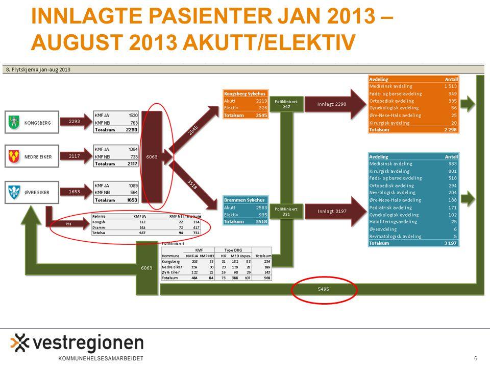 6 INNLAGTE PASIENTER JAN 2013 – AUGUST 2013 AKUTT/ELEKTIV