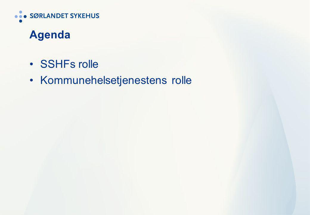 KØH og engasjement fra SSHF Det er i dag ni ulike KØH-tilbud eller -initiativ på Sørlandet Noen er allerede i gang – andre er under planlegging Deltagelse i råd og utvalg Medisinsk fagutvalg som faglig referansegruppe for kvalitet, basis for Delavtale 4