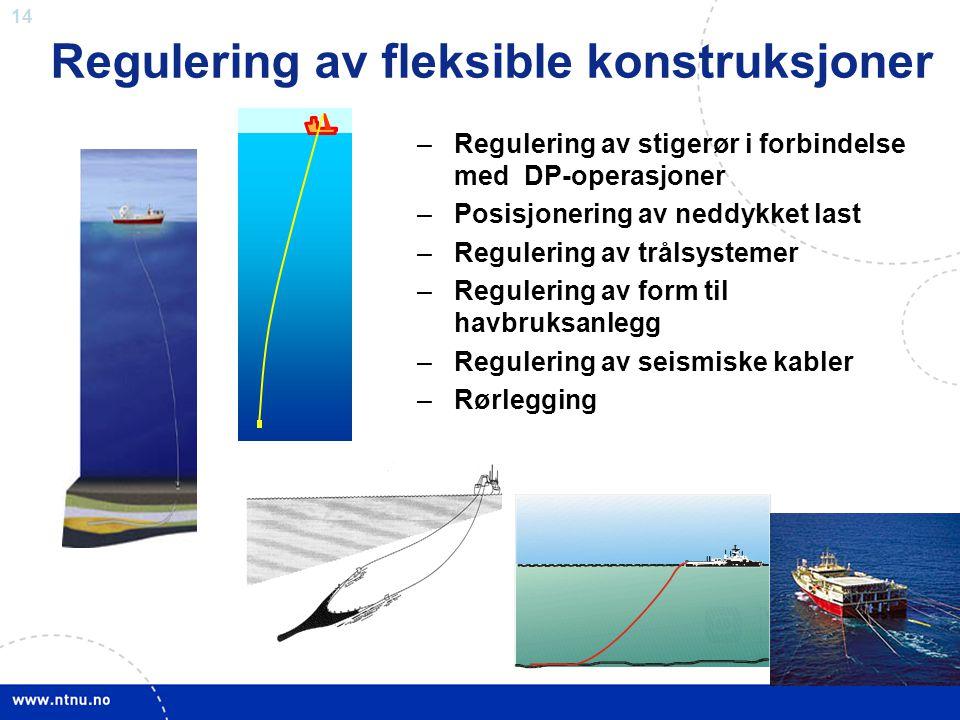 14 –Regulering av stigerør i forbindelse med DP-operasjoner –Posisjonering av neddykket last –Regulering av trålsystemer –Regulering av form til havbr