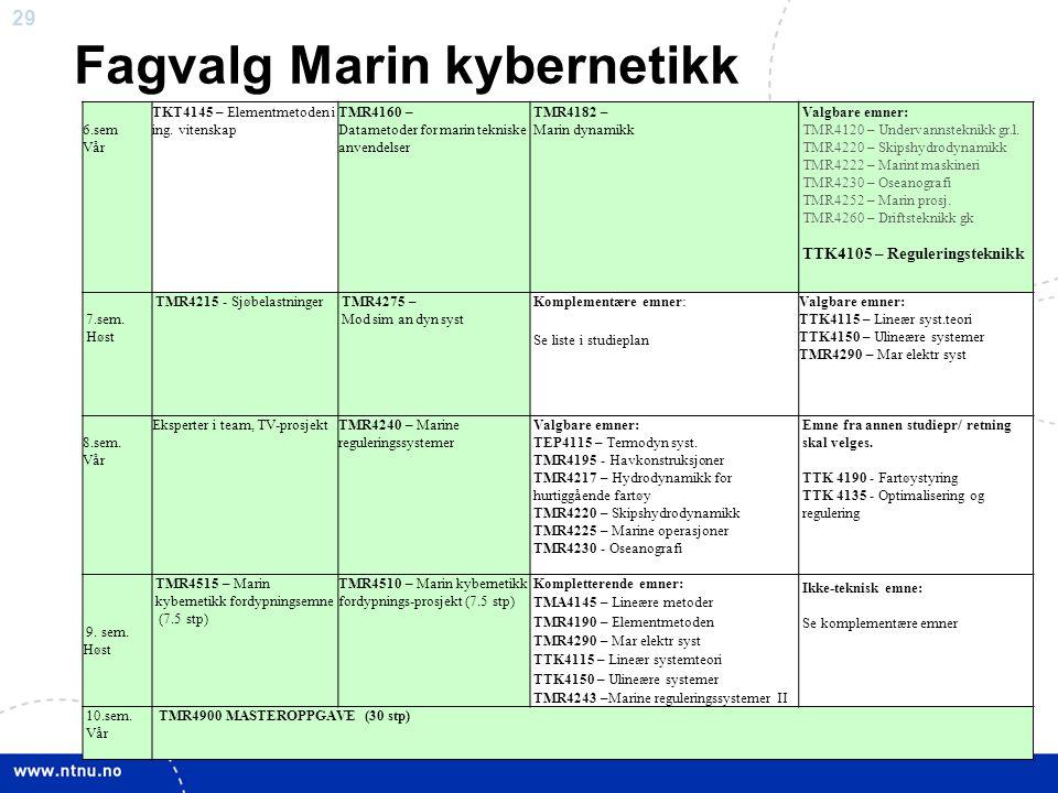 29 Fagvalg Marin kybernetikk 6.sem Vår TKT4145 – Elementmetoden i ing. vitenskap TMR4160 – Datametoder for marin tekniske anvendelser TMR4182 – Marin