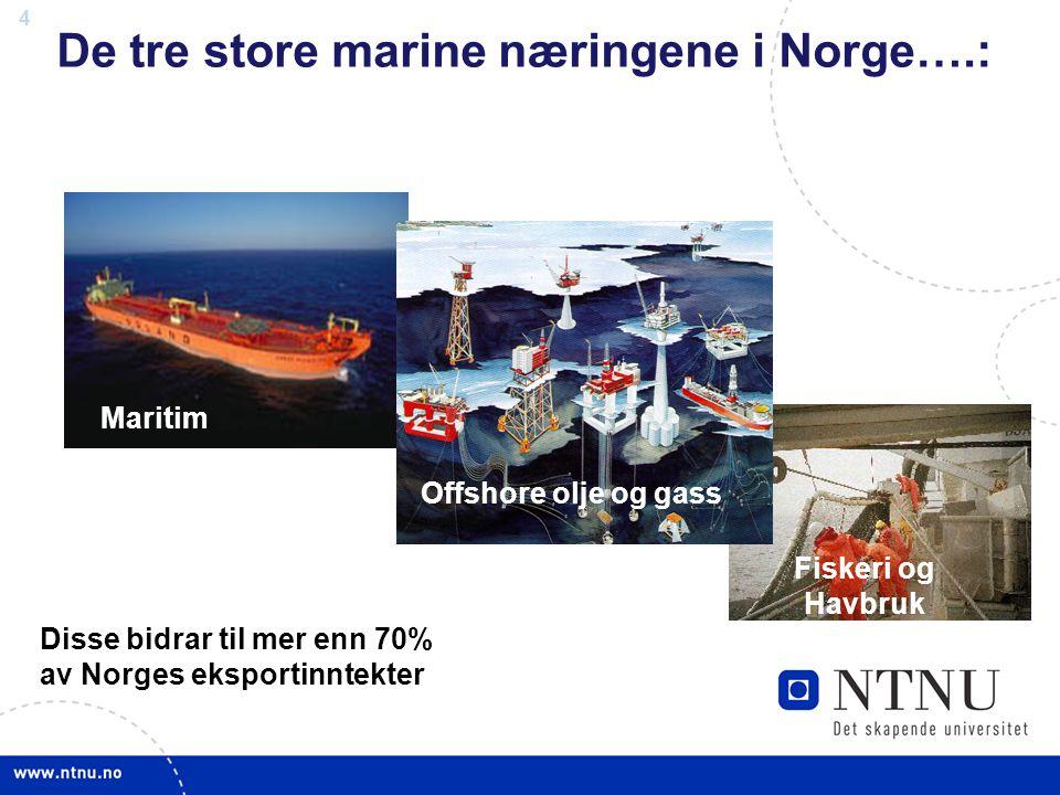 4 De tre store marine næringene i Norge….: Maritim Offshore olje og gass Fiskeri og Havbruk Disse bidrar til mer enn 70% av Norges eksportinntekter